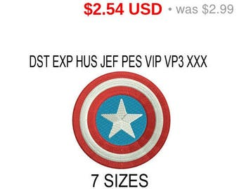 TODAY SALE 15% Captain America embroidery design logo / embroidery designs / INSTANT download machine embroidery pattern