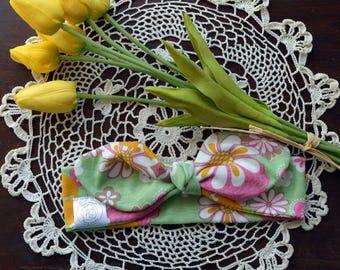 Green, Pink & Yellow Flowered Baby Knot Headband