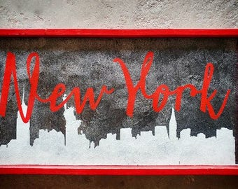 NEW YORK sky line- Framed Wood sign. Hand painted