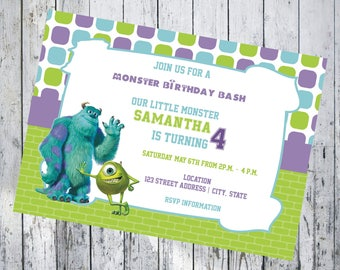 Monsters Inc 7x5 Birthday Invitation