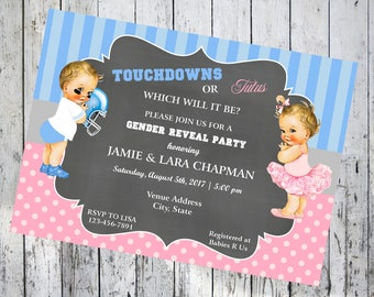 Touchdowns or Tutus Pink and Blue Gender Reveal Baby Shower Invitations