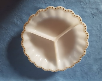 1950's 1960's Vintage / Anchor & Hocking / White Milk Glass / Serving Plate with Gold Trim