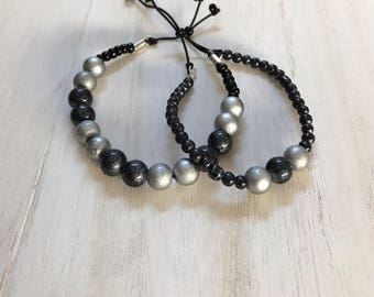 Two Beaded Slip Knot Bead Bracelets, Beaded Bracelet