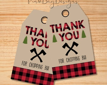 Lumberjack Thank You Tags, Lumberjack Party Tags, Lumberjack Birthday Tags, Thank You Tags, Instant Download, Lumberjack Birthday, Favor Tag