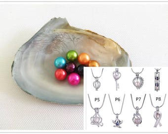 Round Freshwater Pearl Oyster + Cage Pendant,Make Jewelries Yourself,TSNOT-FR-CP