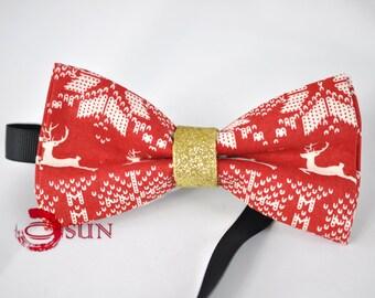 Men Women 100% Cotton Xmas Christmas Elk Deer RED Bow Tie Bowtie Party Wedding