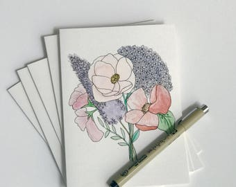 Set of Floral Watercolor Cards