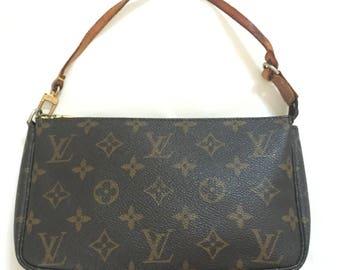 Louis Vuitton Authentic Monogram Pochette Accessoires Pouch Mini hand Bag Vintage