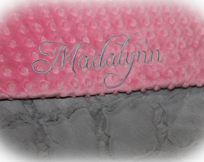 Personalized Baby Blanket or Lovey / Personalized Minky Baby Blanket / Baby Girl Minky Blanket / Gray Lattice & Pink Dot Minky Baby Blanket