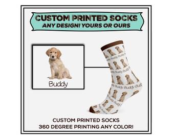 Custom Dog Socks, Puppy Socks, Gift Socks, Graphic Socks, Dog Socks, Custom Happy Socks, Funky Socks, Athletic Socks, Photo Socks, MEDIUM