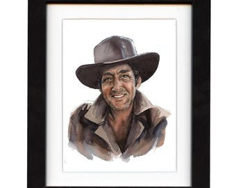 art, dean martin, art print, print, ranch, cowboy art, cowboy, gift, hat, old, western, decor, wall art, portrait, famous, saltwatercolors