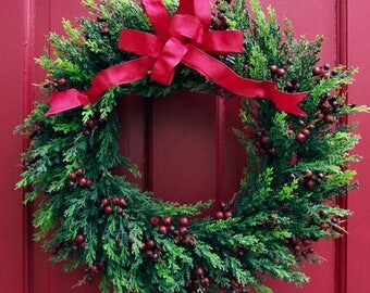 Cedar & Red Berry Wreath