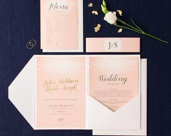 Pocket fold wedding invitation set - Nightglow design, personalised and beautifully printed