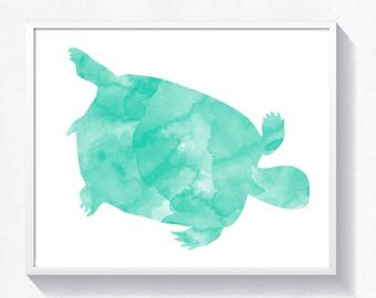 Turtle print, turtle printable, turtle watercolor, toddler wall art, nursery printable, instant download, turtle printable poster