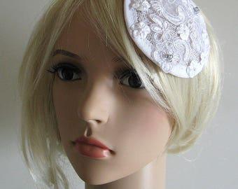 OOAK Romantic white floral lace headpiece lace satin flowers wedding bridal accessory