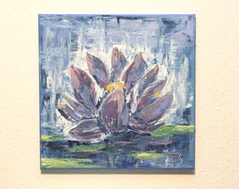 An Energy Lotus Flower I - Oil Painting, Hand Painted Flower 40 x 40 cm