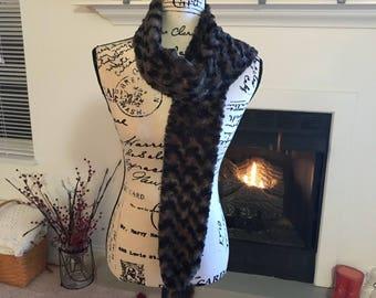 Soft briwn pom pom scarf