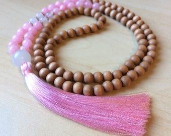 Wood Mala Beads - 108 Mala Necklace - Yoga Mala - pink jade