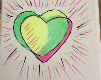 Valentine Day card,hand drawn card,valentines day,valentines card ,pop art card,,ooak,hart card,original card
