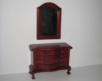 Dollhouse Miniature 4 Drawer Curvy Wood Dresser with Mirror 1:12 Scale Furniture