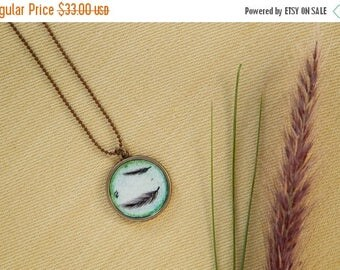 Shop launch 15% off Feather necklace, Original feather draw necklace, Feather pendant, Feather illustration, Falling feather draw, Hand-