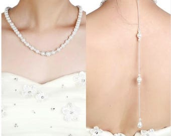 Bridal Pearl Back Drop Necklace,  Bridesmaids Pearl Necklace, Wedding Pearl Necklace, Prom Necklace, Bridesmaids Gift
