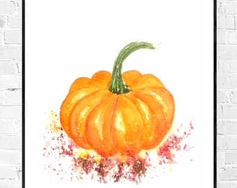 Original pumpkin painting-pumpkin watercolor-Autumn Art-Original watercolor-kitchen art-vegetable art-kitchen decor-colorful art