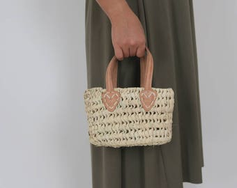 Natural Basket with Leather Handles, small, Beach Bag, Straw Bag, handmade, summer bag, handbag.