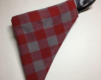 Buffalo Plaid Dog Bandana Over the Collar Style, Red and Gray Flannel Bandana, Plaid Dog Bandana