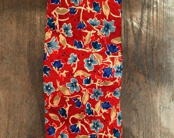 Yves Saint Laurent - Red & Blue Pansy Necktie