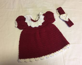 Crocheted Marron & White Baby Dress