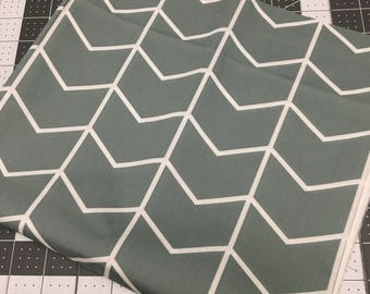 Aqua Chevron Fabric, Cotton Twill Fabric, Aqua Fabric, Chevron fabric, fabric destash, fabric scraps, blue chevron fabric, Arrow fabric