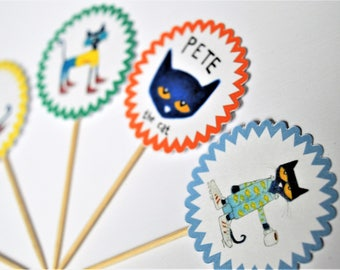 Pete the Cat - Cupcake toppers/ Stickers/ Centerpiece Decor