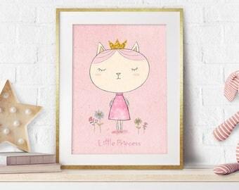 Girl Nursery, Nursery Prints, Nursery Cat Decor, Little Princess, Nursery Pink Decor, Baby Girl Gift, Pink Wall Art, New baby, Cute, Giclee