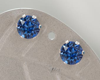 Handmade Sterling Silver 1 Carat 6mm Stud Earrings with Swarovski Sapphire Blue Crystals