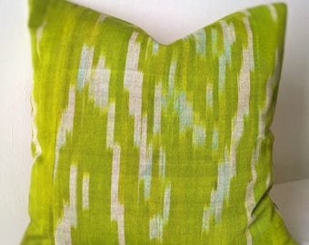 Yellow Green Ikat pillow cover Decorative pillow Accent pillow Ikat fabric Central Asian Tajik Ikat
