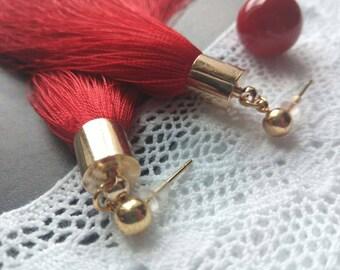 silk tassel earrings, silk braches earrings