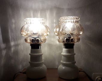Vintage Bedside Lamp Pair / Mid Century Table Lamp Pair /Amber Glass & Opalina Glass / 60s