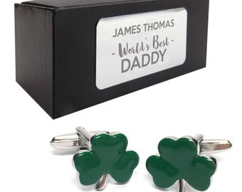Green Irish shamrock CUFFLINKS World's best dad, grandad, uncle, husband gift, presentation box PERSONALISED ENGRAVED plate - 001
