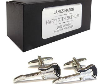 Electric guitar music CUFFLINKS 30th, 40th, 50th, 60th, 70th birthday gift, presentation box PERSONALISED ENGRAVED plate - 531
