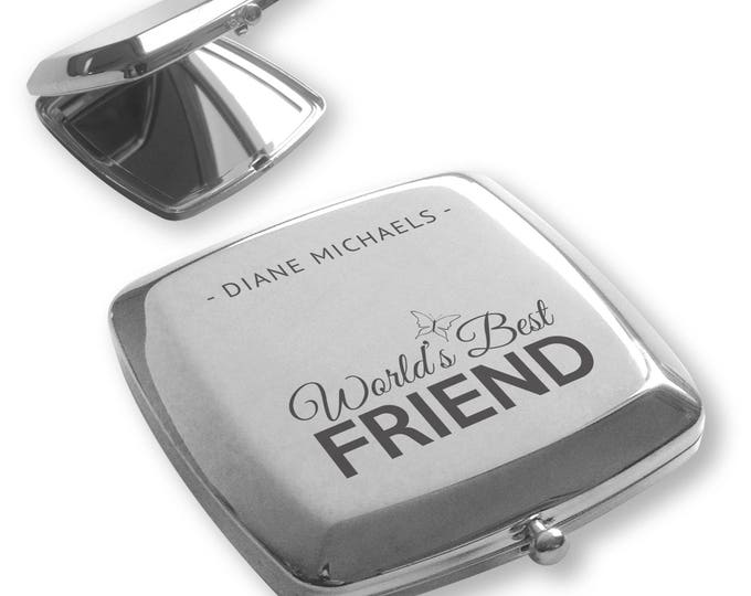 Personalised engraved World's Best FRIEND silver plated compact mirror birthday, christmas gift idea - BT7