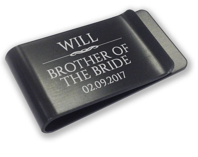 Personalised engraved brother of the bride MONEY CLIP wedding gift, thank you - black money clip annodised aluminium  - LMSC8BK