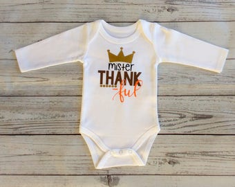 Mister Thankful Outfit / Thanksgiving Outfit Boy / Mr. Thankful / Baby Boy Thanksgiving Bodysuit / Thanksgiving Bodysuit