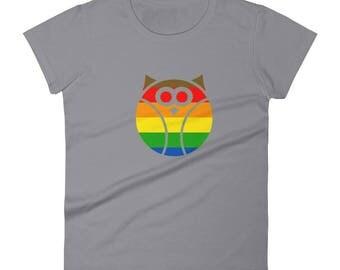 Philadelphia Pride Owl Women's short sleeve t-shirt lgbtq lgbt lgbtqipa queer gay transgender mogai