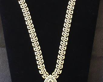 Elegant imitation American diamond with faux ruby stones necklace set