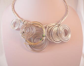 Silver wire bib statement necklace.Unique and Funky.Wearable art.
