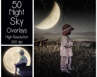 50 Night Sky Overlays - Starry Sky Textures - Moon Overlays - Digital Background - Photography Overlay - Stars - Milky Way - Magic Night