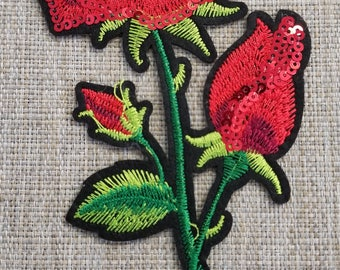 Red embroidered flower applique with sequins #7C1440