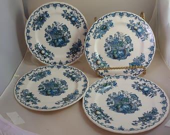 Mason's Fruit Basket 4 Salad Plates Blue