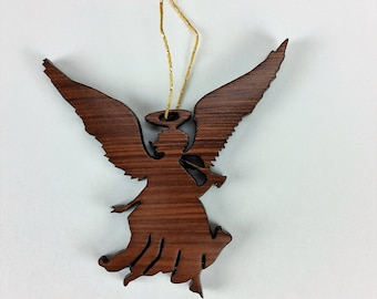 Angel Christmas Ornament California Redwoods Laser Cut Handmade Wood Ornament Made in USA